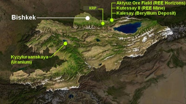 Расположение проектов компании Stans Energy в Кыргызстане